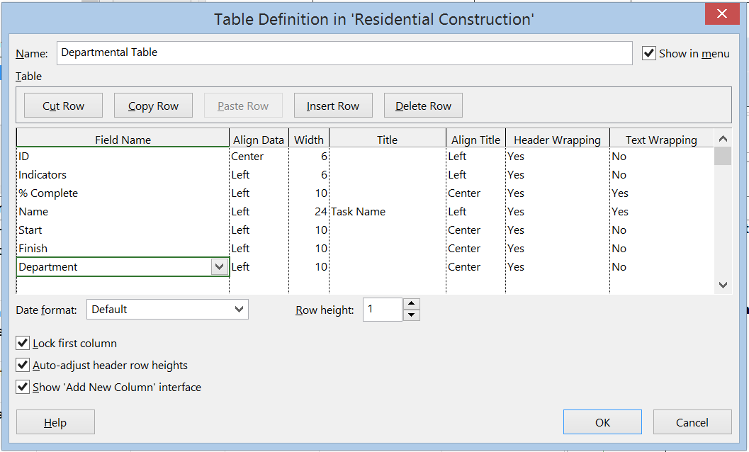 Picture of a table within MS Project 2013